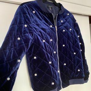 Soprano Blue Velvet Puffer Jacket White Pearls